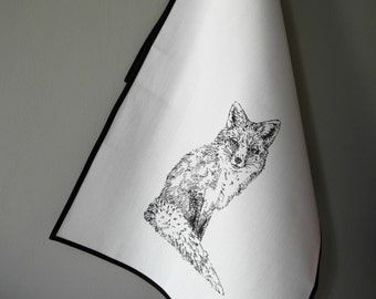 Vixen - hand sewn and screen printed tea towel