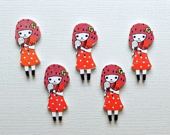 5 Wooden Doll Buttons #SB - 00109