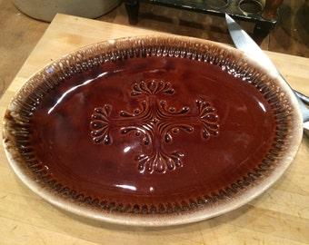 McCoy Brown Drip Platter No. 7062