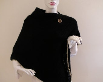 Elegant top Black Knitted poncho Gold Trim and Gold Vintage Button.