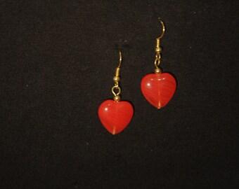 Blue / red glass heart earrings
