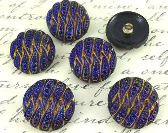Blue and Gold Carved Czech Glass Button, 22mm Blue Glass Buttons, 1 button (BT-15)