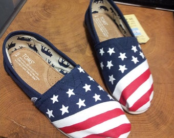 Toms Shoes Customized American Flag