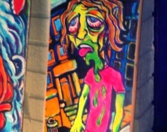Party time / SK8 or Die  ( skateboard deck painting )