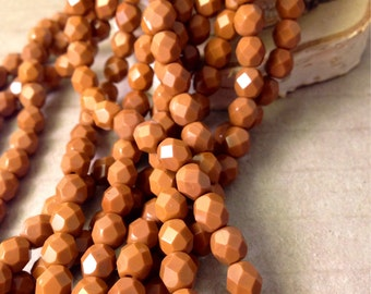CINNAMON BITES 6mm Firepolish Umber Czech Glass Faceted Rounds - Pumpkin Sienna Burnt Orange Amber Rust Brown Earthy - Qty 25 (6-044)