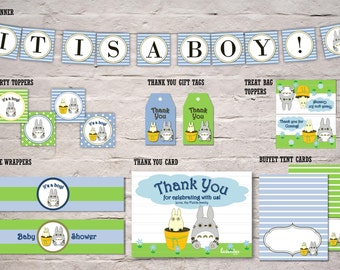 Blue Totoro Party Package, Totoro Baby Shower Pack, Banner, Topper, Tag, Bottle Wrapper, Thank U Card, Tent, DIY Printable Instant Download