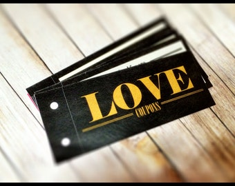 Gold Black Love Coupon Book, Valentine, Birthday Gift for boyfriend, husband, For HIM, Love Coupons, Last Min Printable, Instant Download