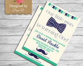 Little Man Birthday Invitation, Bow tie birthday, boy party, mustache printable invite, navy and teal, color customizable, mustache diy
