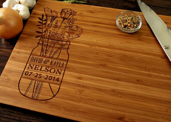 Monogram Wedding Gift Ideas: Personalized Wedding Gift Custom Cutting Board Anniversary