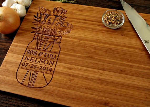 Unique Gifts Wedding: Personalized Wedding Gift Custom Cutting Board Anniversary