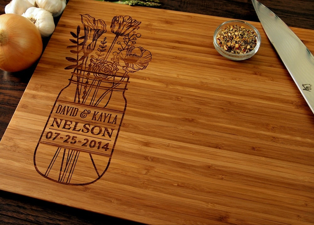 Unique Wedding Gift Ideas: Personalized Wedding Gift Custom Cutting Board Anniversary