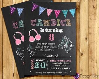 Custom Ice Skating Birthday Invitations. Chalk Board. Printable Digital. Girl Birthday Invitation #K1018B