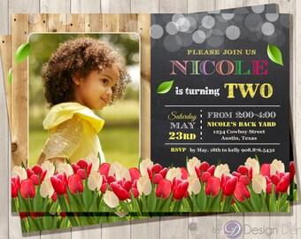 Spring Birthday Tulip invitation, Spring Custom PHOTO Invitaiton, Chalkboard, Tulips, Spring  #B1024A