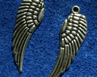 Pewter Wing Charms 9 x 28 mm 10 charms