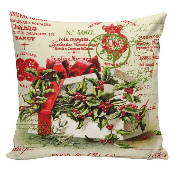 Items similar to Christmas Pillow Cushion Victorian Christmas Gifts French style pillow #CC0137 ...
