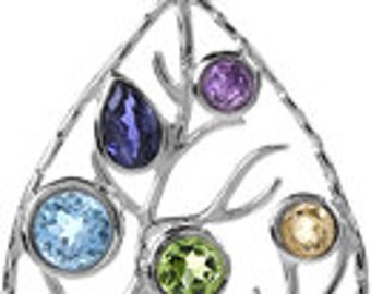 Stunning Sterling Silver Faceted Gemstones Chakra Tree of Life Pendant Necklace Reiki Healing