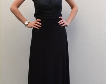 Elastic black maxi skirt/ big size long skirt/long black skirt/ maxi skirt.