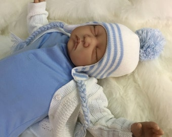 "Reduced For A Limited Time - Reborn baby boy Alfie 22"" newborn size 3/4 limbs heat set paints real realistic sleeping baby doll my fake baby"