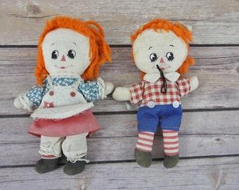 "VINTAGE Knickerbocker Toy Co Raggedy Ann & Andy Mini Dolls Set ~ Collectors Hallmark 6"""