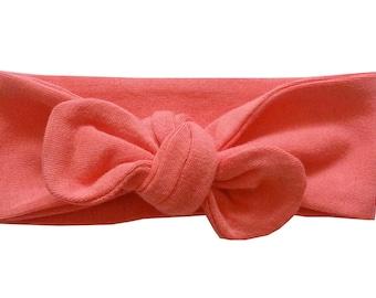 Coral Headband, Baby Girl Headband, Knot Headband, Knotted Bow Headband, Cotton Spandex Knit Knot Headband