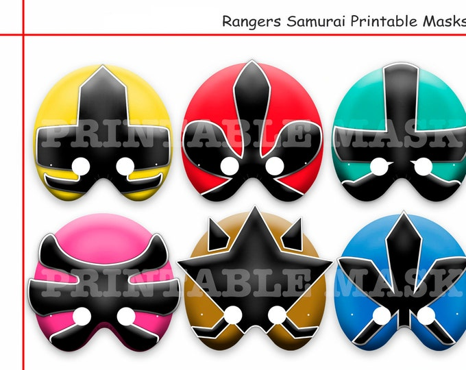 Unique Rangers Samurai Printable Masks,Rangers Party,Power Birthday,kids dress up mask,ninja costume,photo booth props,party decoration