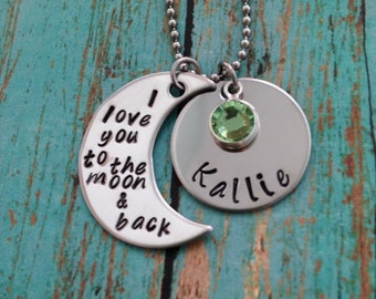 I love you to the moon and back moon name and birthstone necklace