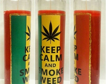 Keep Calm And Smoke Weed Rastafarian Candle