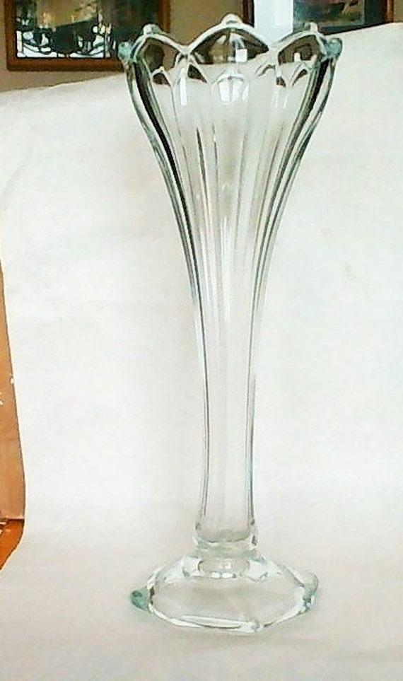 large clear glass footed trumpet vase was n0w. Black Bedroom Furniture Sets. Home Design Ideas