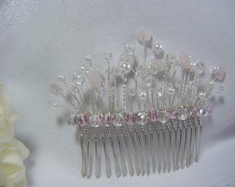 Wedding bridal hair comb handmade with rose quartz polished gemstones