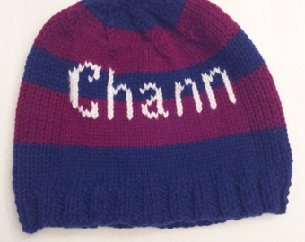 Barcelona Team Beanie, Personalized Boy's and Girl's Knitted Hat
