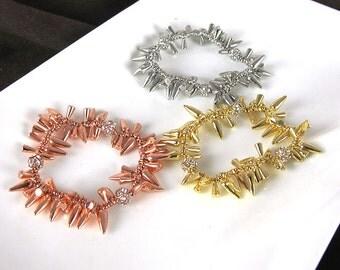Pepper Cluster Bracelet Spike Pave Beaded Bracelet  Crystal Bracelet