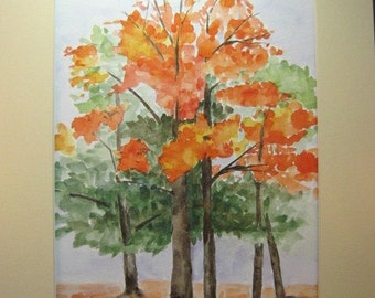 Autumn Trees original watercolor painting signed and framed