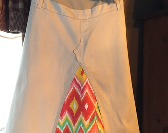 Khaki and Chevron Maternity Skirt, size large