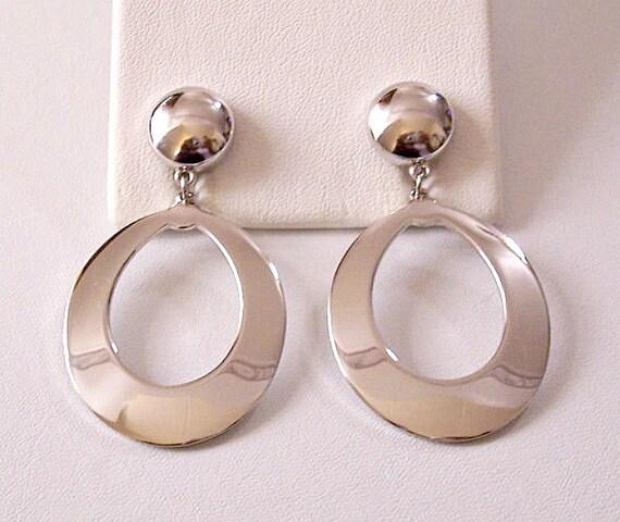 monet drama hoops clip on earrings silver by