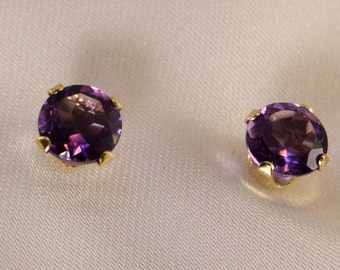 14kt Yellow Gold Amethyst Earrings