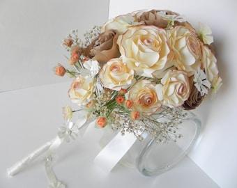 Brown and beige wedding bouquet, bride bouquet, gypsophila bridal bouquet, falling flower bouquet, alternative bouquet, handmade bouquet