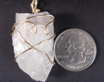 Natural Raw Quartz Crystal Pendant Wrapped in Gold Colored Wire   #47