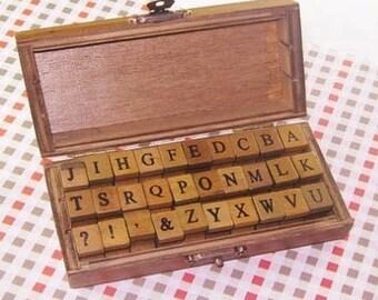 Vintage Alphabet Stamp Set -- Wooden Rubber Stamps -- Rubber Stamps -- uppercase -- 30 pcs