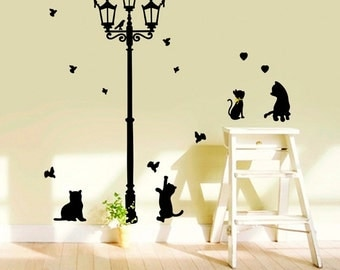 Street Lamp Wall Decals,sitting Room Wall Stickers,bedroom Wall Decals,corner  Wall Part 53