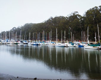 Color Panorama Print of Sail Boats Waiting on a Foggy Morning in Morro Bay California 4x6, 8x10 or 11x14