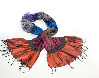 Jai's Pure Silk Scarf - Multi-Section Jewel Colors