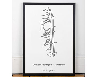 Oudezijds Voorburgwal, Printable, wall art, poster, minimalist, famous streets, INSTANT DOWNLOAD, city streets collection. Art for home