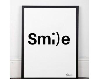 Typographic Smile Wall Art Inspirational Quote Simple Print Typographic Print Wall decor Printable digital art