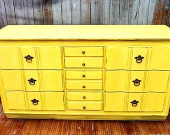For your inspiration Painted Vintage Dresser Yellow Distressed