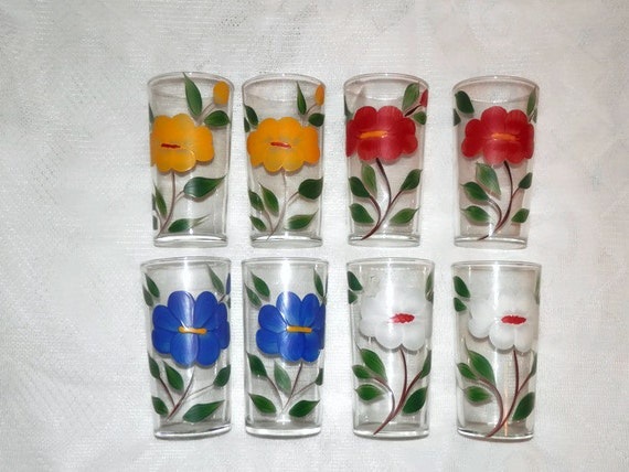 8 vintage beverage glasses with hand painted by koalatyvintage for Hand painted drinking glasses