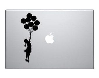 Banksy girl with balloon vinyl sticker for Mac Book/Air/Retina laptops. Printed in Australia