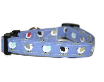 Purple Birds Dog Collar