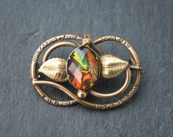 Antique Late Victorian / Early Edwardian - Art Nouveau Pinchbeck Brass Brooch with Large Rainbow-glass Stone