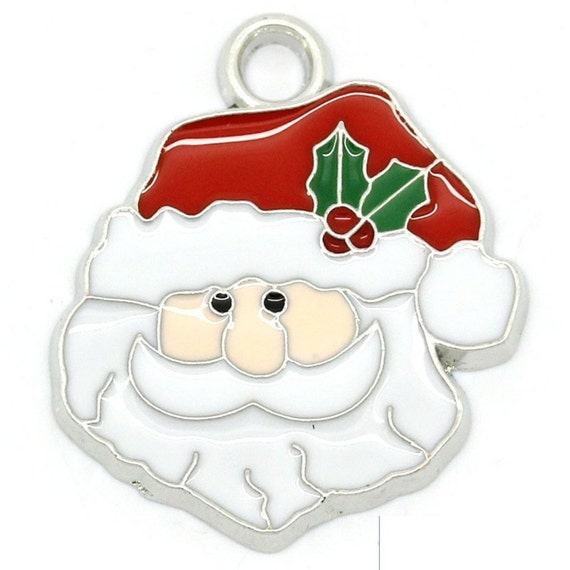Pendant christmas santa claus charms silver tone enamel red