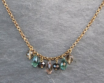 necklace Swarovski/drop mint brown/tear mint/antique gold/Christmas gift jewelry
